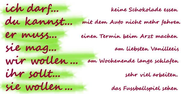 Модельные глаголы немецкого языка - таблица