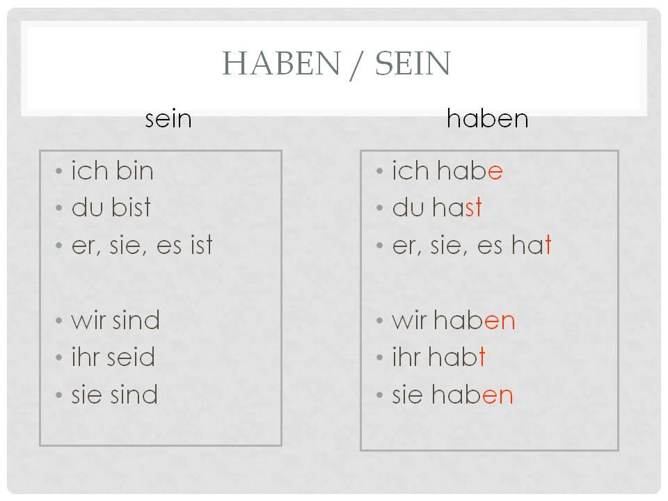 глаголы haben и sein