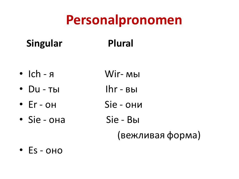 Личные местоимения с переводом